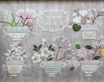 Counted Cross Stitch Pattern, Winter Teacups, Inverno in Tazza, Winter Flowers, Teacups, Hyacinth, Crocus, Cuore e Batticuore, PATTERN ONLY