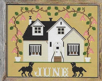 Counted Cross Stitch Pattern, June Cottage, I'll Be Home Series, Summer Decor, Country Rustic, Twin Peak Primitives, PATTERN ONLY