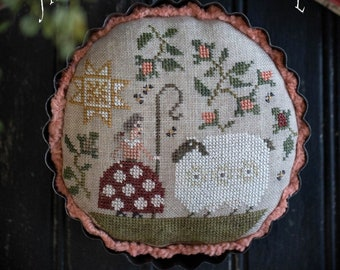 Counted Cross Stitch Pattern, Shepherd's Pie, Shepherdess, Farm, Shepherd's Hook, Sheep, Primitive Decor, Plum Street Samplers PATTERN ONLY