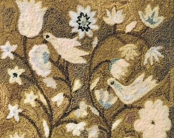 Punch Needle Pattern, An Antique Tapestry, Folk Art, Tapestry, French Sentiments, Birds, Blooms, Kathy Barrick, PATTERN ONLY