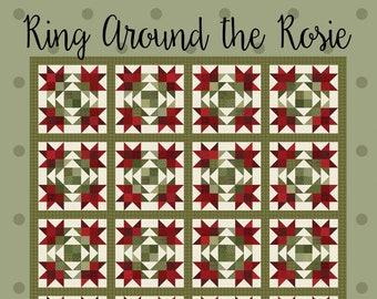 Quilt Pattern, Ring Around the Rosie, Quilted Flannel, Bed Quilt, Flannel Quilt, Flannel Quilt, Winter Decor, Bonnie Sullivan PATTERN ONLY