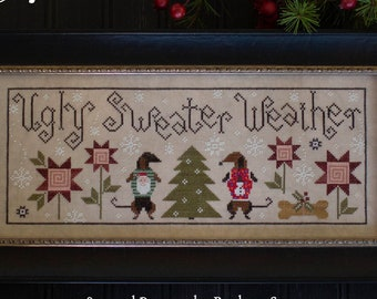 Counted Cross Stitch Pattern, Ugly Sweater Weather, Winter Decor, Dachshunds, Primitive Decor, Plum Street Samplers, PATTERN ONLY