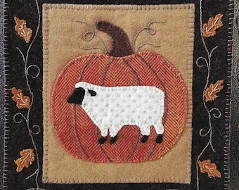 Wool Applique Pattern, Simply Sheep, Wool Wallhanging, Pumpkin Sheep, Thanksgiving, Primitive Decor, Wool Mat, Sew Cherished, PATTERN ONLY