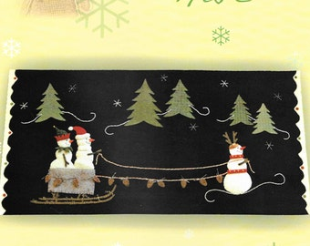 Wool Applique Pattern, Frosty the Red Nosed Snowman, Winter Decor, Christmas Decor, Wool Applique Table Mat, Nutmeg Hare, PATTERN ONLY