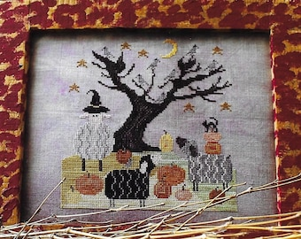 Counted Cross Stitch Pattern, Hallo'sheep, Halloween Cross Stitch, Halloween Decor, Black Cat, Sheep, Pumpkins, Thistles, PATTERN ONLY