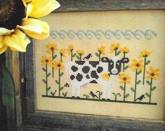 Counted Cross Stitch Pattern, Brunch at Buttonwood Farm, Sunflowers, Cow Farm, Dairy Farm, Sunflower Farm, Vintage NeedleArts, PATTERN ONLY