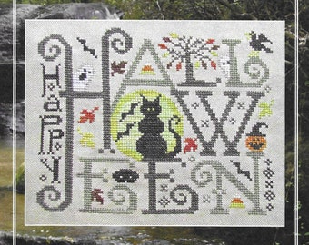 Counted Cross Stitch Pattern, Happy Halloween, Halloween Sampler, Cats, Bats, Ghosts, Pumpkins, Autumn, Silver Creek Samplers, PATTERN ONLY