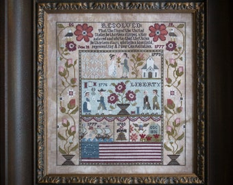 Counted Cross Stitch Pattern, A New Constellation, Betsy Ross, Independence, Patriotic, Flag, Eagle, Plum Street Samplers, PATTERN ONLY