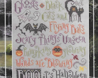 Counted Cross Stitch Pattern, Scary Things, Halloween Sampler, Cats, Bats, Witches, Ghosts, Pumpkins, Silver Creek Samplers, Pattern Only