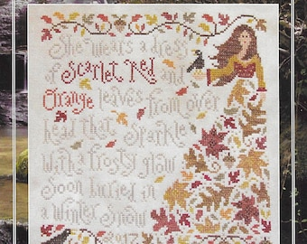 Counted Cross Stitch Pattern, Olivia Ochreleiph, Fall Sampler, Autumn Leaves, Primitive Decor, Silver Creek Samplers, Pattern Only