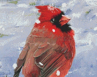 Counted Cross Stitch Pattern, Winter Cardinal, Winter Decor, Vintage Reproduction, Farmhouse Decor, Cross Stitch Studio, PATTERN ONLY