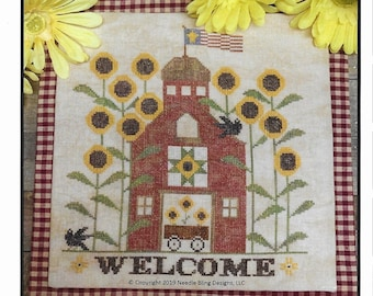 Counted Cross Stitch Pattern, Sunflower Barn, Sunflower Welcome, Sunflowers, Barn, Cross Stitch Pattern, Needle Bling Designs, PATTERN ONLY