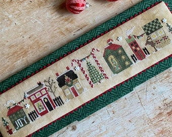 PRE-Order, Counted Cross Stitch Pattern, Christmas Tiny Town, Christmas Decor, Banner, Candy Canes, Heart in Hand, PATTERN ONLY