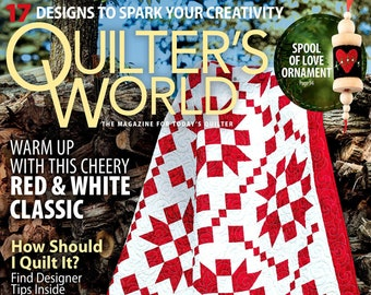 Magazine, Quilter's World, Winter 2021, Red White Quilts, Table Runner, Christmas Decor, Holiday Quilts, Christmas Ornaments, Quilt Magazine