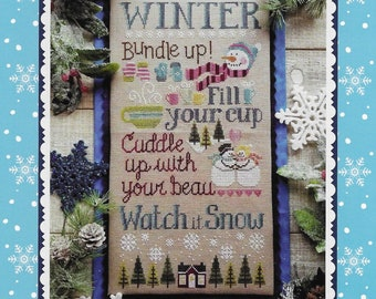 Counted Cross Stitch Pattern, Watch It Snow, Snowman, Winter Decor, Wall Hanging, Snowmen, Hot Chocolate, Waxing Moon Designs, PATTERN ONLY