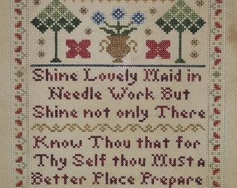 Counted Cross Stitch Pattern, Shine Lovely Maid, Alphabet Sampler, Inspirational Sampler, Peacocks, Vintage NeedleArts, PATTERN ONLY