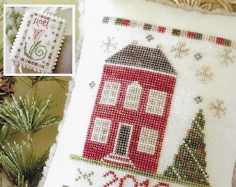 Counted Cross Stitch Pattern, Evergreen House, Noel, Christmas Decor, Cottage Decor, Farmhouse, October House Fiber Arts, PATTERN ONLY
