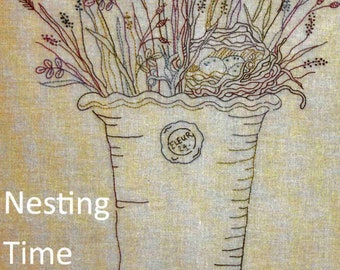 Embroidery Pattern, Nesting Time, Spring Decor, Spring Flowers, Flower Vase, Birds Nest, Cottage Decor, Crabapple Hill Studio, PATTERN ONLY