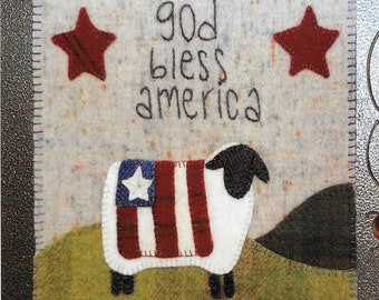 Wool Applique Pattern, Simply Sheep, Wool Wallhanging, Americana Sheep, 4th of July, Primitive Decor, Wool Mat, Sew Cherished, PATTERN ONLY