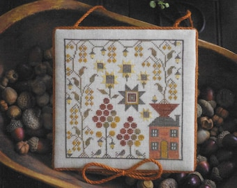 Counted Cross Stitch Pattern, Sampler House IV, Summer Decor, Sunflowers, Berries, Primitive Decor, Plum Street Samplers, PATTERN ONLY