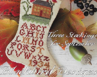 Counted Cross Stitch Pattern, Splendid September, Fall Stockings, Stocking Ornaments, Sampler, Blackbird Designs, PATTERN ONLY