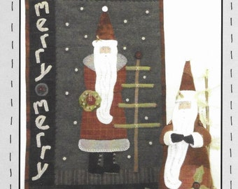 Wool Applique Pattern, Merry Merry, Christmas Decor, Primitive Decor, Santa, Holly Berries, Heart to Hand, Kathi Campbell, PATTERN ONLY