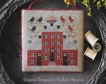 Counted Cross Stitch Pattern, Sampler House V, Crows, Cardinals, Flower Urn, Red House, Primitive Decor, Plum Street Samplers, PATTERN ONLY