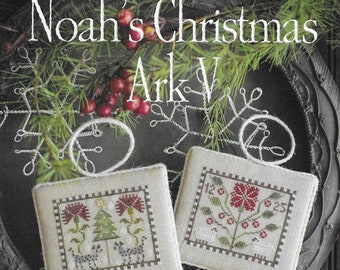 Counted Cross Stitch Pattern, Noah's Christmas Ark, Hyenas Ornament, Sheep Ornament, Christmas Decor, Plum Street Sampler, PATTERN ONLY