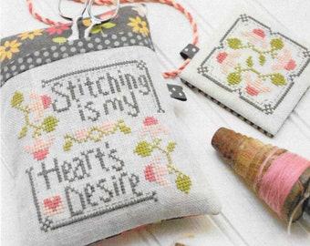 Cross Stitch Pattern, Stitching is My Heart's Desire, Pincushion, Pin Keep, Scissor Fob, Cathy Habermann, Hands on Design, PATTERN ONLY