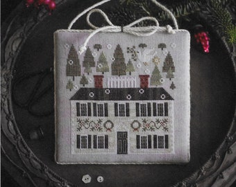 Counted Cross Stitch Pattern, Sampler House VI, Christmas Decor, Christmas Trees, Dove, Primitive Decor, Plum Street Samplers, PATTERN ONLY
