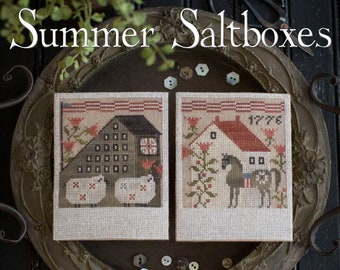 Counted Cross Stitch Pattern, Summer Saltboxes, Patriotic, Americana, Black Horse, White Sheep, Flags, Plum Street Samplers, Pattern Only