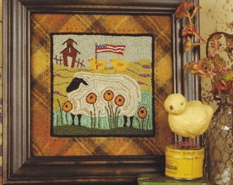 Punch Needle Pattern, Two Chicks on the Lamb, Sheep, Primitive Decor, Americana, Threads That Bind, Punch Needle Embroidery, PATTERN ONLY