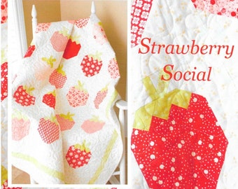 Quilt Pattern, Strawberry Social, Summer Decor, Cottage Decor, Garden Decor, Patchwork Quilt, Quilted Wall Hanging, Lap Quilt, PATTERN ONLY