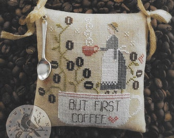 Counted Cross Stitch Pattern, Coffee First, Coffee Beans, Kitchen Decor, Pillow Ornament, Primitive, Brenda Gervais, PATTERN ONLY