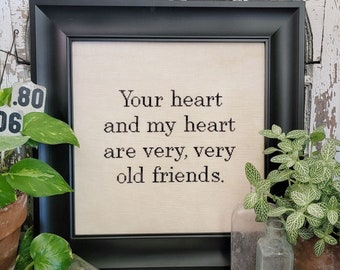 Counted Cross Stitch, Old Friends, Sign, Friendship, Celebrate Friends, Cottage Chic, Hello from Liz Mathews, PATTERN ONLY