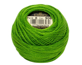 DMC Perle Cotton, Size 8, DMC 906, Medium Parrot Green, Pearl Cotton Ball, Embroidery Thread, Punch Needle, Penny Rug, Wool Applique