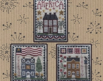 Counted Cross Stitch Pattern, Patriotic House Trio, Patriotic Decor, Americana, American Flag, Freedom, Waxing Moon Designs, PATTERN ONLY