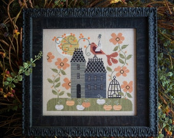PRE-Order, Counted Cross Stitch Pattern, Goody Grimwood, Fall Decor, Orange Pumpkins, White Pumpkins, Plum Street Samplers, PATTERN ONLY