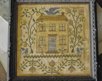 Counted Cross Stitch Pattern, The Summer Beaming Forth, Bird, Bloom, Primitive Decor, Colonial House, Blackbird Designs, PATTERN ONLY