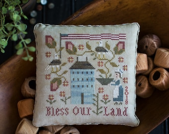 Counted Cross Stitch Pattern, Bless Our Land, Patriotic Decor, Americana, Betsy Ross, Bald Eagle, Flag, Plum Street Samplers, PATTERN ONLY