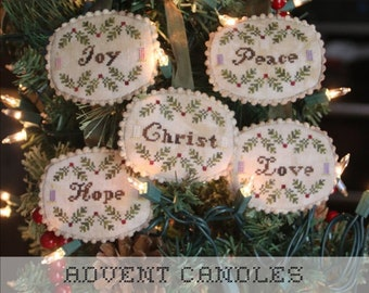 Counted Cross Stitch Pattern, Advent Candles, Christmas Ornaments, Christmas Decor, Religious Ornaments, Heartstring Samplery, PATTERN ONLY