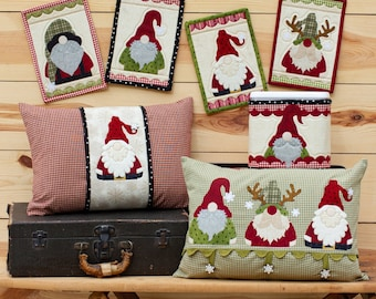 Wool Applique Pattern, Holly Jolly Gnomes, Wool Applique, Mug Rugs, Canister Wrap, Pillow Cover, The Whole Country Caboodle, PATTERN ONLY