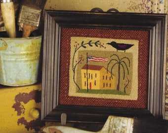 Punch Needle Pattern, Painted Glory, Americana, Patriotic, Primitive Crow, Saltbox, Threads That Bind, Punch Needle Embroidery, PATTERN ONLY