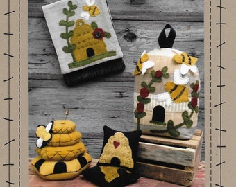 Wool Applique Pattern, Busy Bees, Bee Pincushion, Beehive, Bee Door Stop, Wool Wall Hanging, Cabin Decor, Wooden Spool Designs, PATTERN ONLY