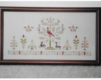 Counted Cross Stitch Pattern, Acorns, Reproduction Sampler, German Sampler,  1769 Sampler, Oak Trees, Arachne's Silken Web,PATTERN ONLY