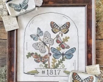Counted Cross Stitch, Butterfly Cloche, Butterflies, Butterfly Paper Weights, Garden Decor, Liz Mathews, PATTERN ONLY
