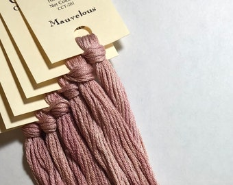Classic Colorworks, Mauvelous, CCT-201, 5 YARD Skein, Hand Dyed Cotton, Embroidery Floss, Cross Stitch, Hand Embroidery Thread