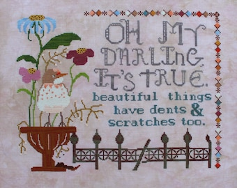 Counted Cross Stitch Pattern, Beautiful Things, Garden Decor, Crimson Chat, Inspirational, Cottage Chic, Lindy Stitches, PATTERN ONLY