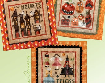 Counted Cross Stitch Pattern, Halloween Square Dance 3, Jack O Lantern, Haunted House, Heartware, Heart in Hand, PATTERN ONLY