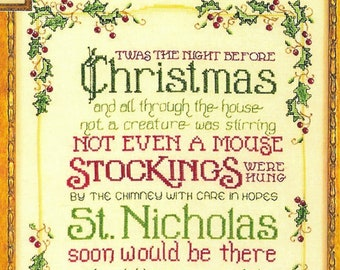 Counted Cross Stitch Pattern, Twas the Night, Christmas Decor, Christmas Poem, St. Nicholas, Stockings, Sue Hillis Designs, PATTERN ONLY